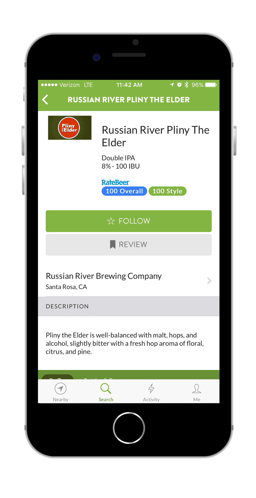 TapHunter App Beer Screen