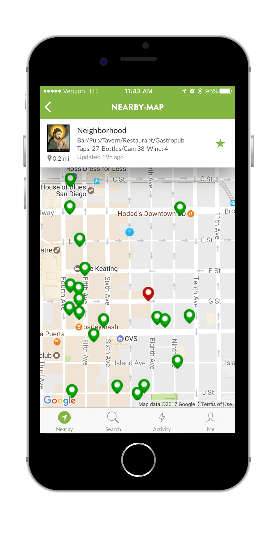 TapHunter App Map Screen